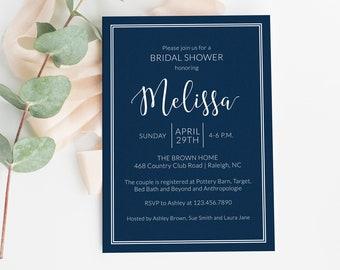 Bridal Shower Invitation / Bride to Be / Wedding Shower / Classic / Navy Shower Invite / Bridal Brunch / Wedding Shower / Summer Shower