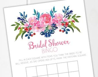 Bridal Shower Bingo / Bridal Shower Party / Bridal Shower Games / Printable / Printable Bingo Card / Floral Bridal Shower / Instant Download