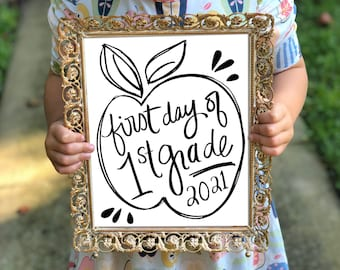 First Day of School Sign Instant Download, Digital File, First Grade