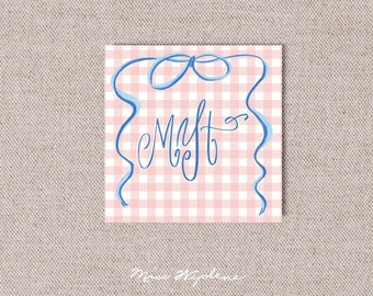 Gift Enclosure Cards, Customized Calling Cards and Monogram, Gingham, Personalized