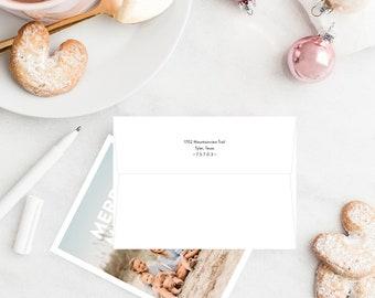 Return address printing on envelopes, customized envelope listing