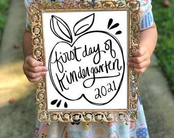 First Day of School Sign Instant Download, Digital File, Kindergarten