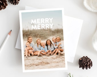 Holiday Card Template, Christmas Photo Card, Digital Download