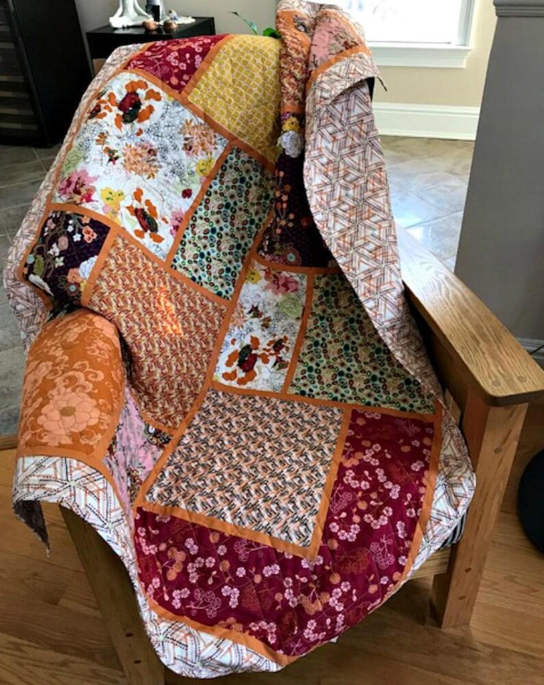 Big Block Patchwork Lap Quilt Fall Colors Designer Prints Etsy
