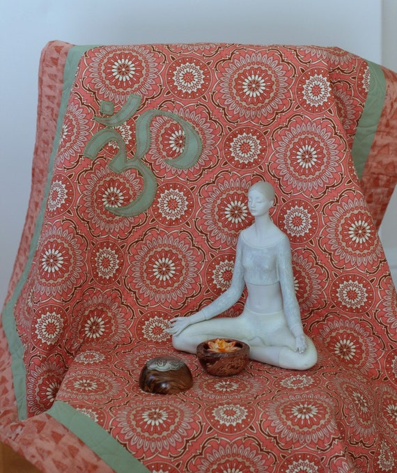 Quilted Meditation Mat/ Yoga Lap Quilt/ Paisley Quilting
