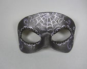 Day of the Dead Purple Accented Spiderweb Leather Mask, Unisex