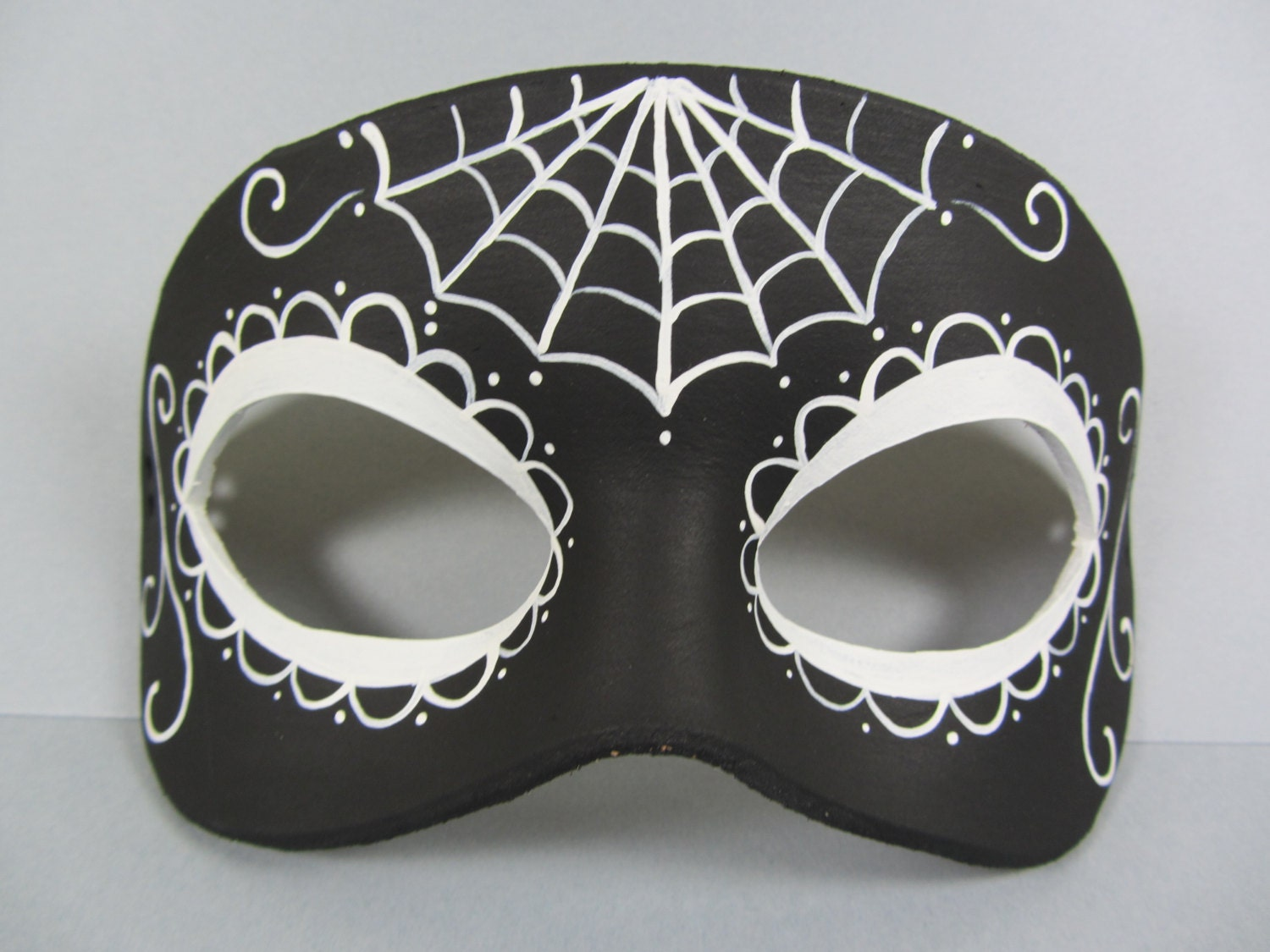 Reverse Day Of The Dead Black And White Leather Mask Unisex Etsy