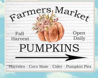 Farmers Market Pumpkin Patch Sign - PRINTABLE Rustic Pumpkin Print -  Autumn Decor - PRINTABLE Fall Home Decor - Tiered Tray Decor Transfer