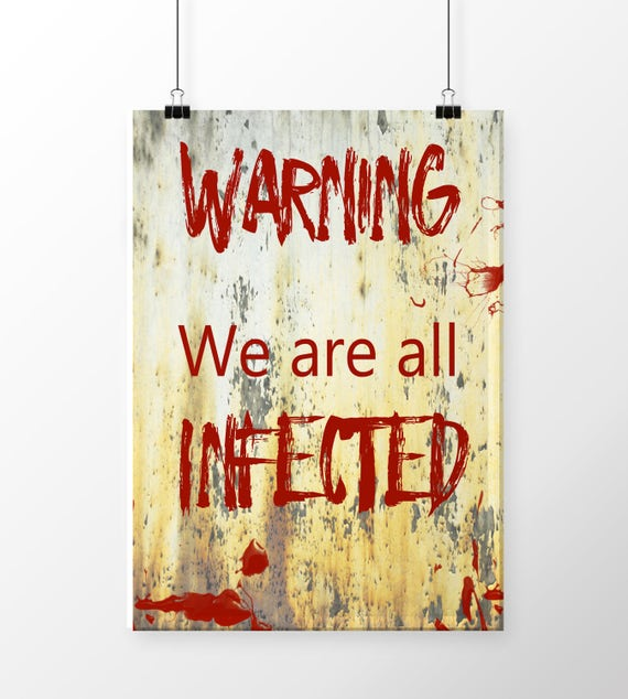 Warning sign , Zombie poster , Zombie wall decor , Zombie party , Halloween  decor , Halloween decoration , Instant download