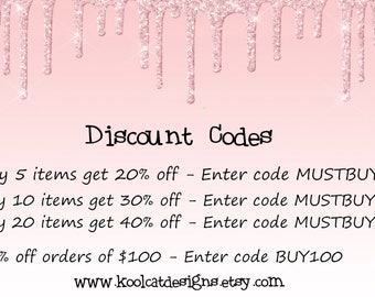DISCOUNT CODES for multiple purchases at a time - Do NOT Buy - Just read and use the info provided