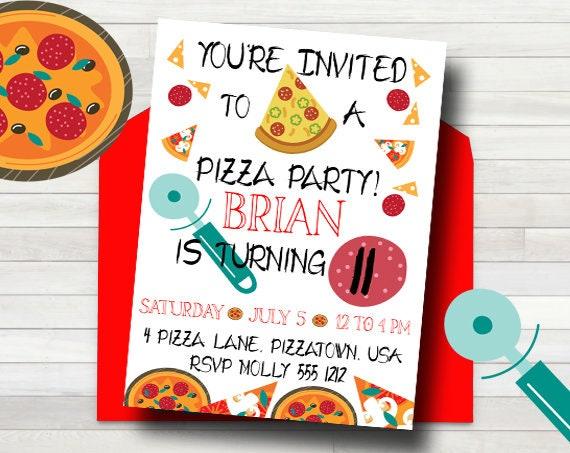 Printable Pizza Party Invitation Kids Pizza Party Etsy