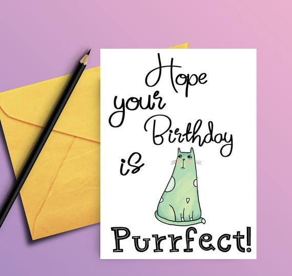 Cat Birthday Card Birthday Card From Cat Card For Cat Etsy