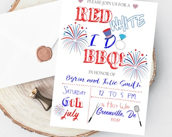 4th Of July I Do BBQ Invitation - PRINTABLE I Do Couples Invitation - Independence Day Engagement Invite