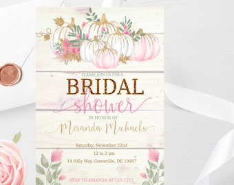 Rustic Fall Bridal Shower Invitation PRINTABLE - Autumn Bridal Shower Invitation - Pink Pumpkins Bridal Shower Invitation