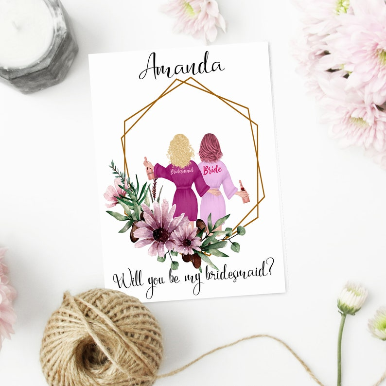 CUSTOM Printable Bridesmaid Proposal Card Proposal Box Maid Of Honor Card Download Personalized Will You Be My Bridesmaid Card