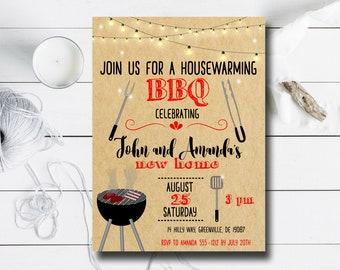 Housewarming BBQ Invitation - PRINTABLE Housewarming Party Invitation - Kraft Paper Invitation