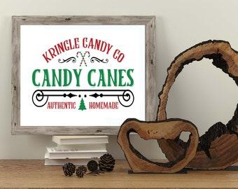 PRINTABLE Candy Canes Sold Here Sign -  Christmas Printables - Holiday Home Decor - Vintage Christmas Print