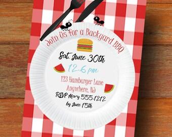 PRINTABLE BBQ Invitation - Picnic Party Invitation - Summer Party Invitation