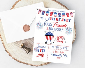 4th Of July BBQ Invitation - PRINTABLE July 4th Party Invitation - Independence Day Barbecue Party Invitation