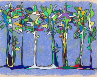 Indigo Forest - Original Drawing by Katherine Oakes