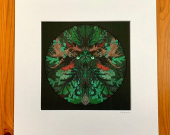 "Winter Green Man Print/art print/ 12x12"" matted/for Yule"