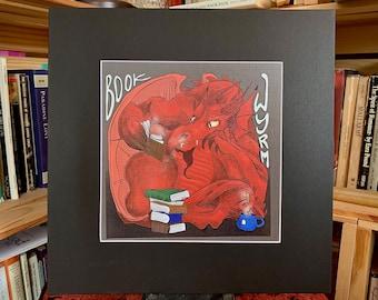 "Book Wyrm Print/12x12"" matted print"