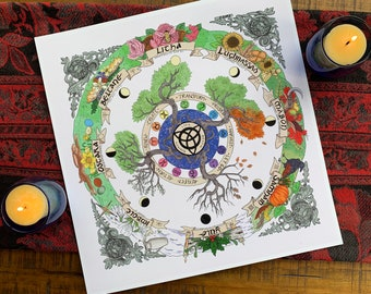 """Wheel of the Year/ Calendar/ Lunar Phases/ Sabbats and Seasons - Altar Decor/ Art Print - 13x13"""" on matte finish cardstock / Pen and Ink"""