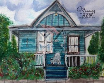 Mercy House, 8 x 10 print, matted, original art print