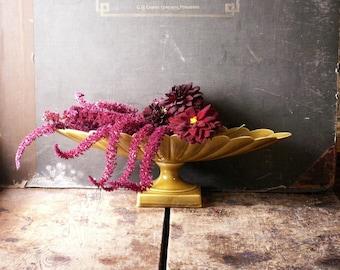 Vintage Midcentury Scalloped Pedestal Vase - Elegant Mustard Olive Colored Long Planter