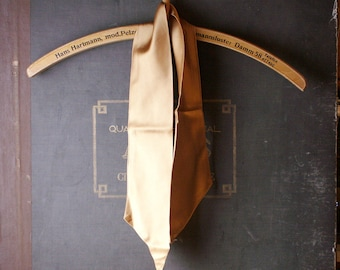 Vintage Gold Satin Neck Scarf - Double Sided Bronze Sash - Neckerchief