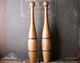 Vintage Pair of Indian Clubs - Juggling Pins - One Pound Clubs - Athletic Man Cave Decor