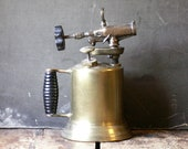 Vintage Brass Blow Torch with Wood Handle