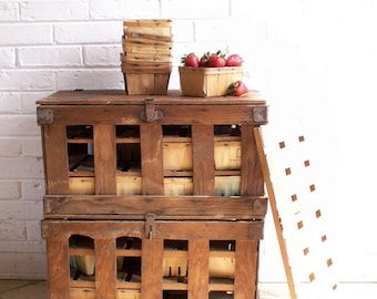 Reserved for Steve - Vintage Wood Strawberry Crates - Farmer's Market - Rustic Farmhouse Decor