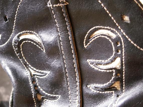 Vintage Kids Cowboy Boots - Black and White Weste… - image 5