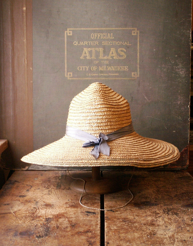 Vintage Floppy Garden Hat with Blue Grosgrain Ribbon  Woven image 0