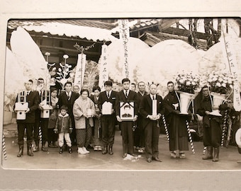 Vintage Japanese Funeral Photo at Temple with Monks and Prayer Flags