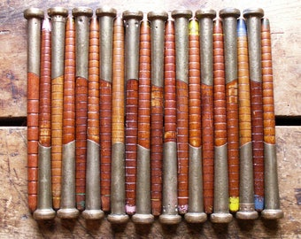 Vintage Sets of Five Wood Textile Spools with Brass Ends - Multiple Sets Available