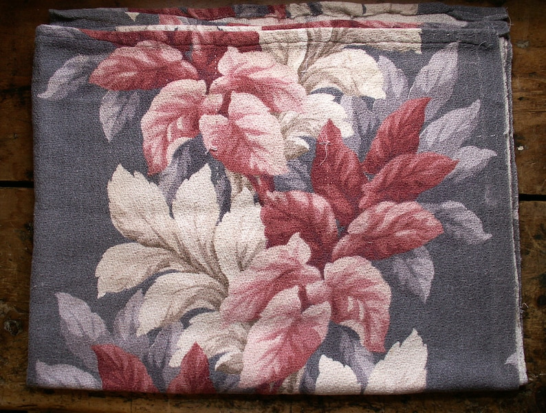 Vintage Barkcloth Fabric Remnant  White Pink and Rose on Gray image 0