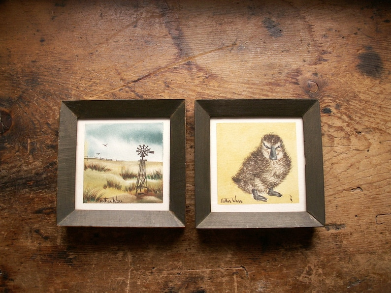 Original Miniature Framed Watercolor Paintings by Esther Ware image 0