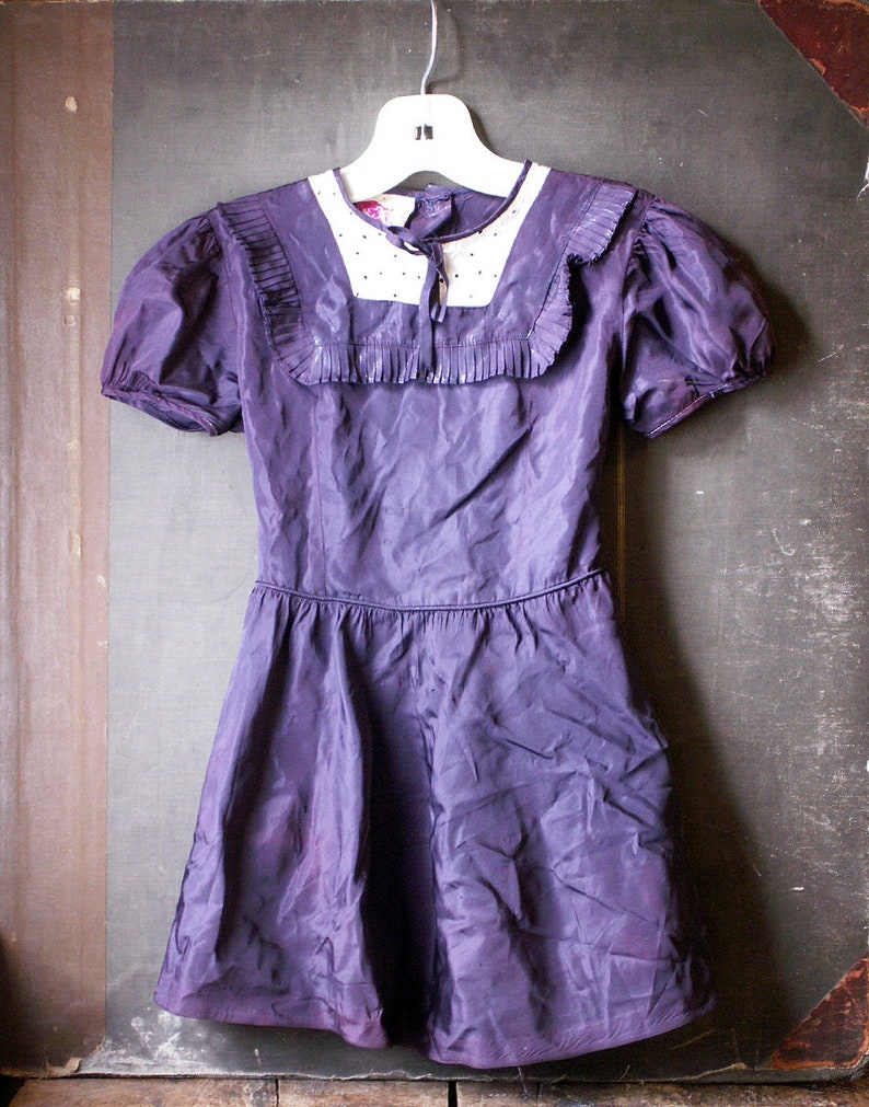 Vintage Girl's Fancy Blue Dress with White Lace Inset and image 0
