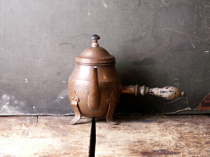 Vintage Copper Hot Chocolate Pot  Small Copper Kettle with image 0