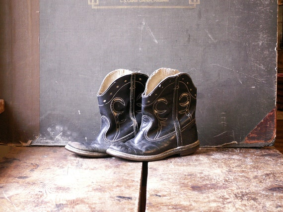 Vintage Kids Cowboy Boots - Black and White Weste… - image 2
