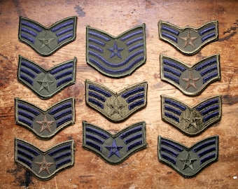 Vintage Military Rank Patches - Army Green with Blue Embroidery