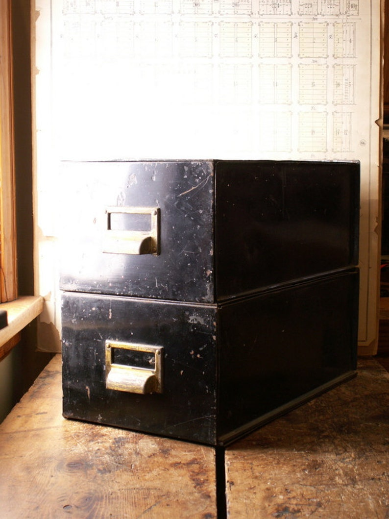 Vintage Black Metal Portable File Drawers with Brass Library image 0