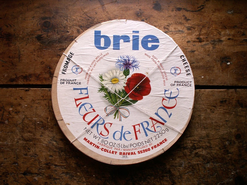 Vintage French Brie Cheese Box  French Country Kitchen Decor image 0
