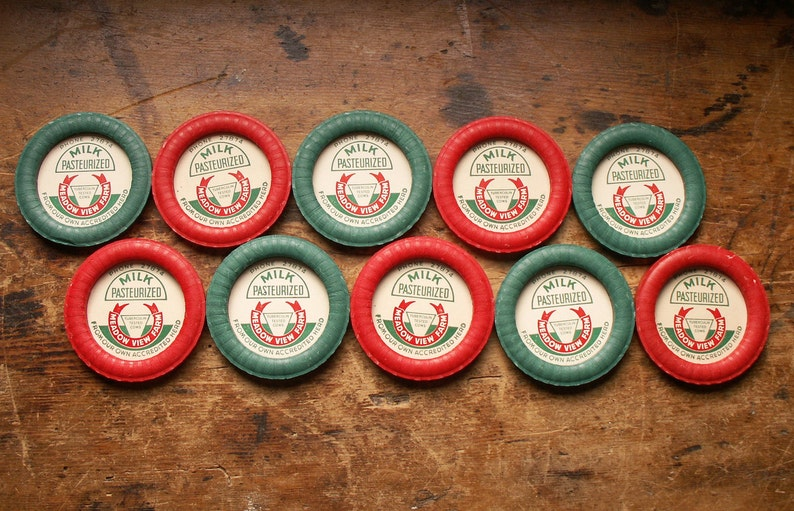 Vintage Waxed Paper Red and Green Milk Bottle Caps Set of 10 image 0