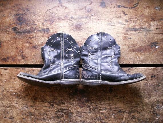 Vintage Kids Cowboy Boots - Black and White Weste… - image 8