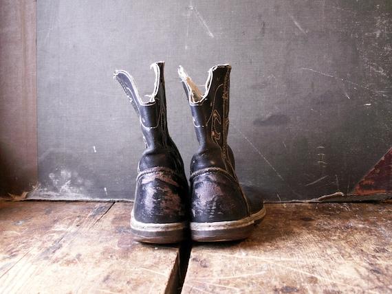 Vintage Kids Cowboy Boots - Black and White Weste… - image 6