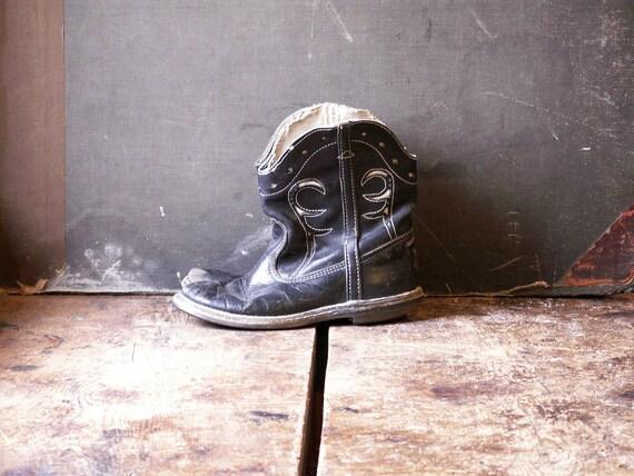 Vintage Kids Cowboy Boots - Black and White Weste… - image 4