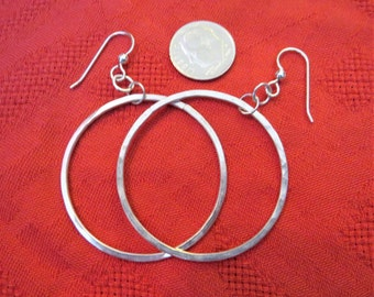 Medium Large Hand Forged Silver Hoop Dangle Earrings